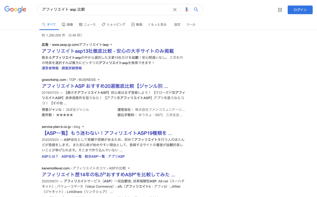 「アフィリエイト ASP 比較」でGoogle検索した画面のスクリーンショットです