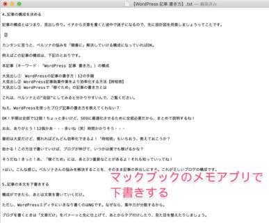 この記事の下書きに使用したメモアプリ画面のスクリーンショットです